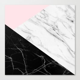 pink black and white geometric marble Canvas Print