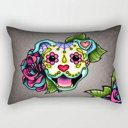 Smiling Pit Bull in White - Day of the Dead Pitbull Sugar Skull Rectangular Pillow