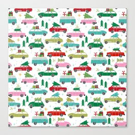 Christmas car tradition christmas trees holiday pattern winter festive Canvas Print