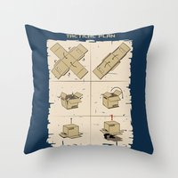 metal gear Throw Pillows featuring Metal Gear by le.duc