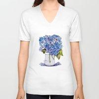 hydrangea V-neck T-shirts featuring Hydrangea painting by KarenHarveyCox