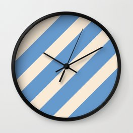 Antique White and Blue Grey Diagonal Stripes Wall Clock
