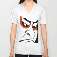 samurai V-neck T-shirts featuring Samurai by Popp Art