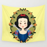 snow white Wall Tapestries featuring Snow White by Joey Ellson