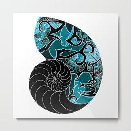 Nautic Nautilus Shell Metal Print