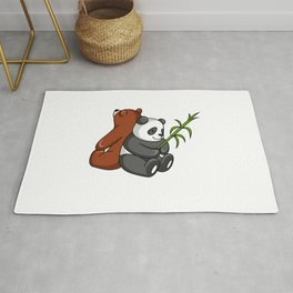 Grizzly Bear And Panda Bear Together Rug