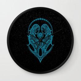 Blue Gemini Zodiac Sign in the Stars Wall Clock