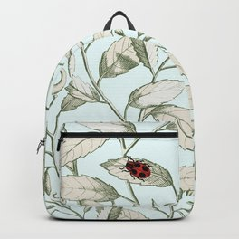 Noli me tangere- ladybird on leaf Backpack