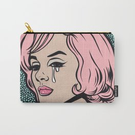 Pink Marilyn Crying Comic Girl Carry-All Pouch