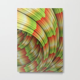 Fountain Flux Chameleon Green and Red Abstract Minimal Artwork  Metal Print