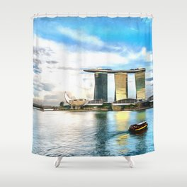Hotel Marina Bay Sands and ArtScience Museum, Singapore Shower Curtain