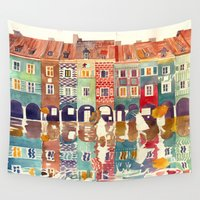 takmaj Wall Tapestries featuring Evening in Poznań by takmaj