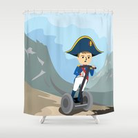 napoleon Shower Curtains featuring Napoleon Segways the Alps by Mouki K. Butt