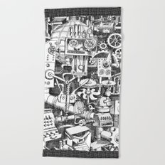 DINNER TIME FOR THE ROBOT Beach Towel