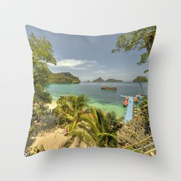 Tropical Harbour Throw Pillow