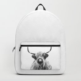 Black and White Highland Cow Portrait Backpack