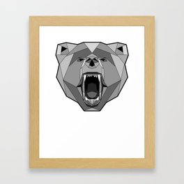 Geometric Bear Face Framed Art Print