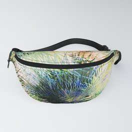 Modern palm leaves tropical abstract design Fanny Pack