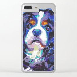 Tri-color Cavalier King Charles Spaniel Dog bright colorful Pop Art by LEA Clear iPhone Case