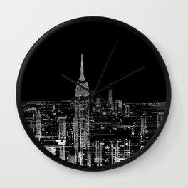 Contemporary Elegant Silver City Skyline Design Wall Clock