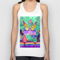 hippie Tank Tops featuring Hippie Owl by Mesterpieces