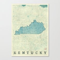 Kentucky State Map Blue Vintage Canvas Print