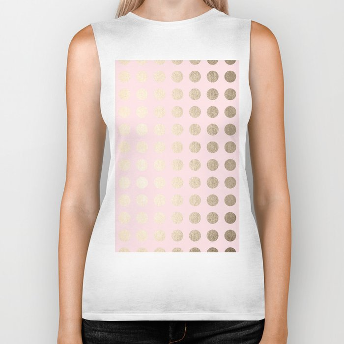 Simply Polka Dots White Gold Sands on Flamingo Pink Biker Tank