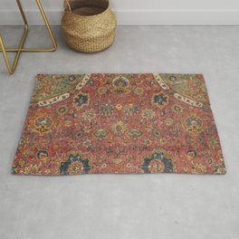 Persian Medallion Rug IV // 16th Century Distressed Red Green Blue Flowery Colorful Ornate Pattern Rug