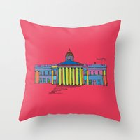 the national Throw Pillows featuring National gallery by PINT GRAPHICS