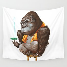 A gorilla relaxing after taking bath Wall Tapestry
