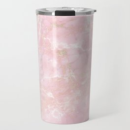 Rose Gold Metal Foil on Pink Marble  -  Summer Girl Travel Mug