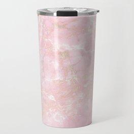 Rose Gold Metal Foil on Pink Marble  -  Summer Girl Travel Mug