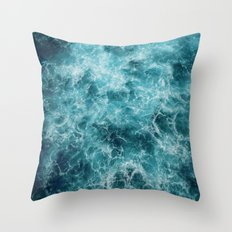 Blue Ocean Waves Throw Pillow