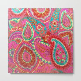 Floral Paisley Pattern 07 Metal Print