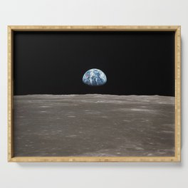 Earthrise Over Moon Apollo 11 Mission Serving Tray