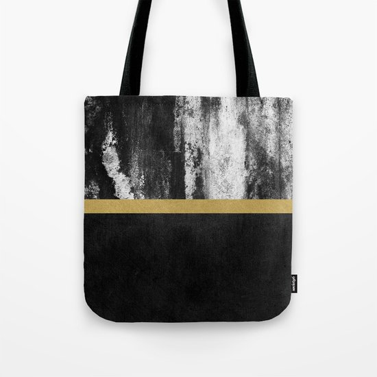 Golden Line / Black Tote Bag