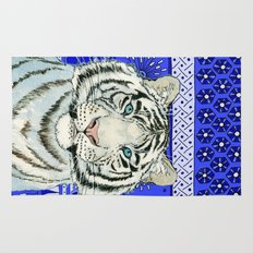 White Tiger in blue Az024 Rug