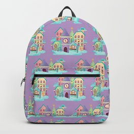 Watercolor Cute Town Scene Backpack