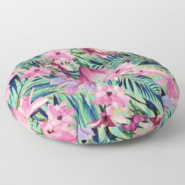 Tropical pink lavender aqua gold watercolor floral Floor Pillow