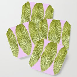Three large green leaves on a pink background - vivid colors Coaster