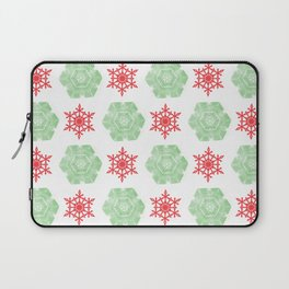 Red and green snowflackes pattern Laptop Sleeve