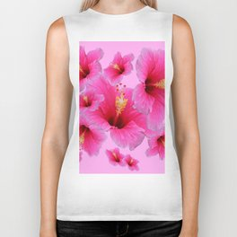 GIRLY TROPICAL PINK HIBISCUS ART Biker Tank