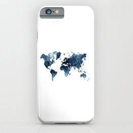 World Map Navy Blue Watercolor by Zouzounio Art iPhone Case