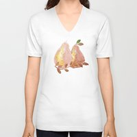 copper V-neck T-shirts featuring Copper Pears by Lisa Argyropoulos