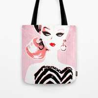 barbie Tote Bags featuring Classic Barbie by Gigglebox