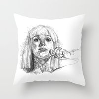 sia Throw Pillows featuring Sia Scribbles (Pen Art) by Aeriz85