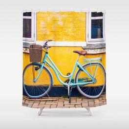 Bike and yellow Shower Curtain