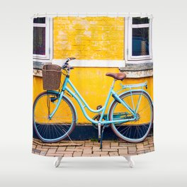 Bike and yellow Shower Curtain