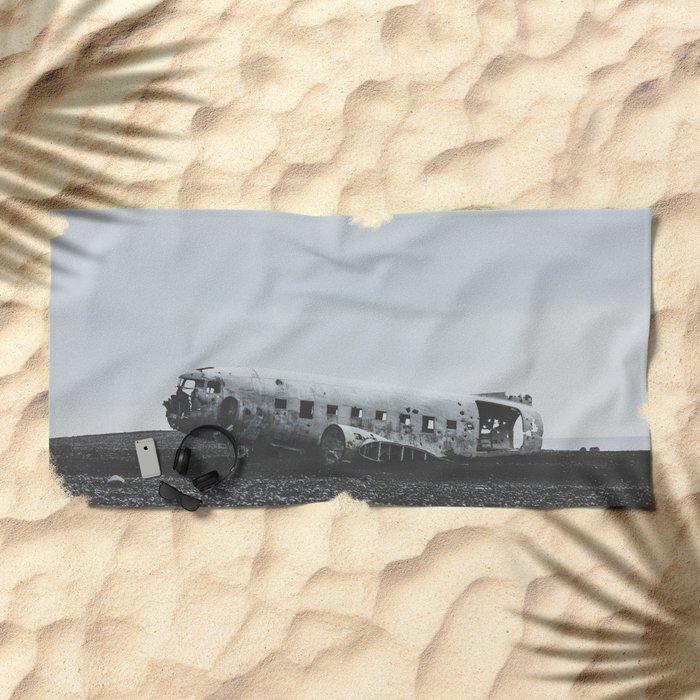 Sólheimasandur Plane Wreck, Iceland Beach Towel