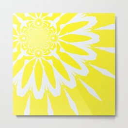 The Modern Flower Yellow Metal Print